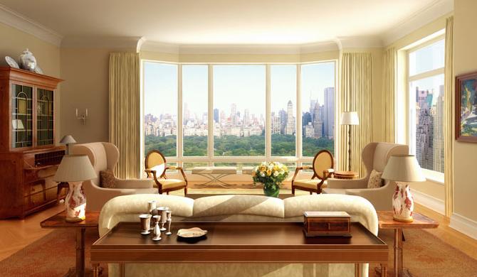 Vue du salon sur Central Park