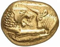 Première pièce d'or du roi crésus
