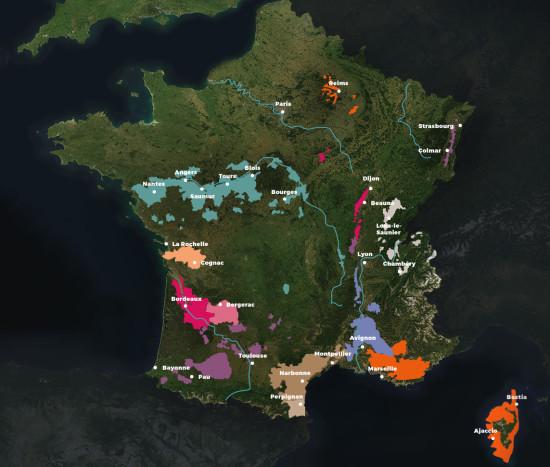 Carte vignobles en France
